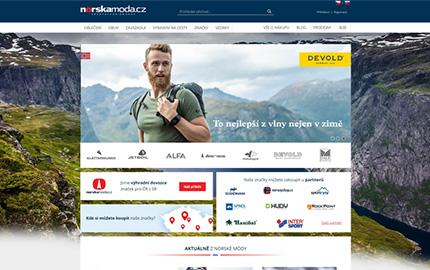 Homepage of eshop Norská móda
