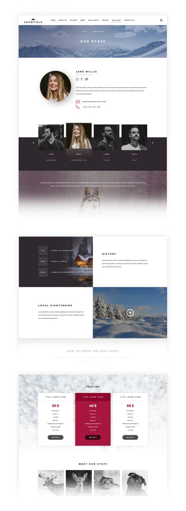 Snowfield PSD Template Our Staff