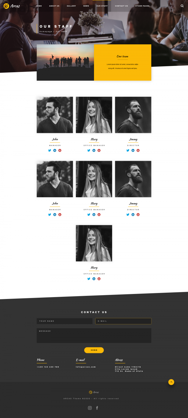 Arcas PSD Template Our Staff